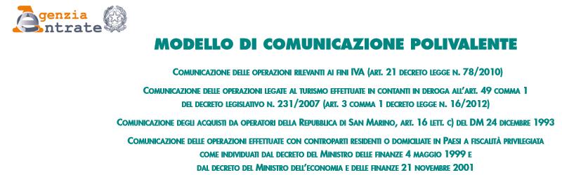 Software di compilazione della comunicazione polivalente (spesometro)